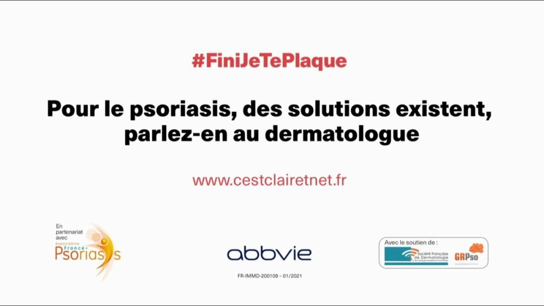 """Psoriasis #FiniJeTePlaque """"des solutions existent parlez-en au dermatologue"""" Pub 20s"""